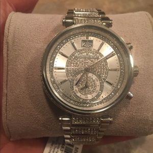 Michael Kors Sawyer Crystal Pave Dial SS Watch